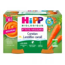 Hipp - Petits pots carottes lentilles corail dès 6 mois - 2x125g