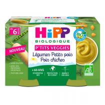 HiPP - Petits pots légumes petits pois pois chiches dès 6 m - 2x125g