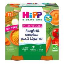 Hipp - Petits pots spaghetti complets 5 Légumes dès 12 mois - 2x250g