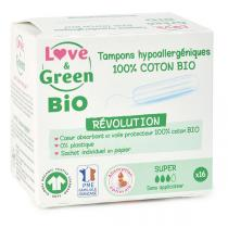 Love & Green - 16 Tampons en coton bio sans applicateur, Super