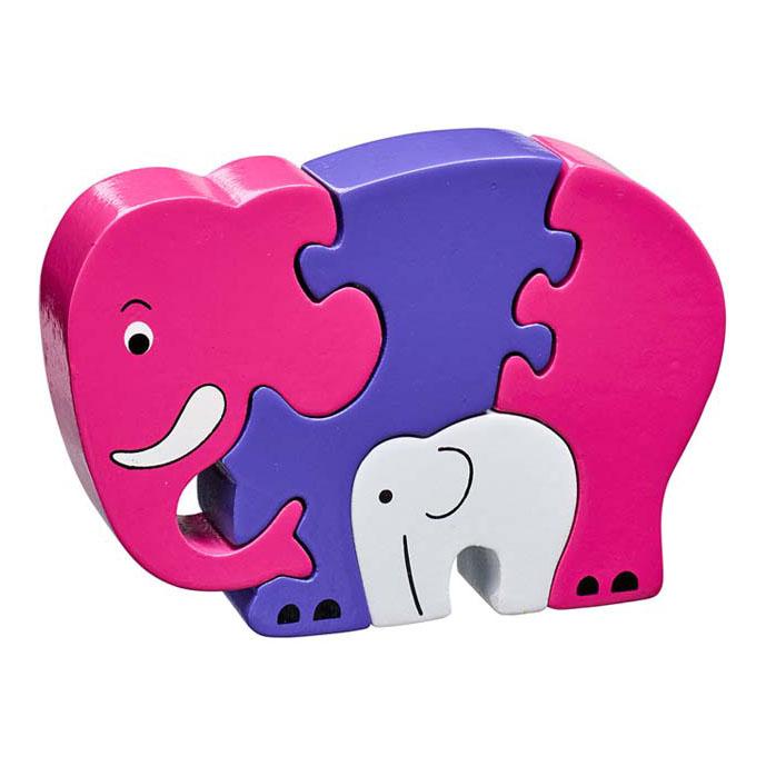 LANKA KADE - Puzzle en bois Eléphant Rose et son bébé