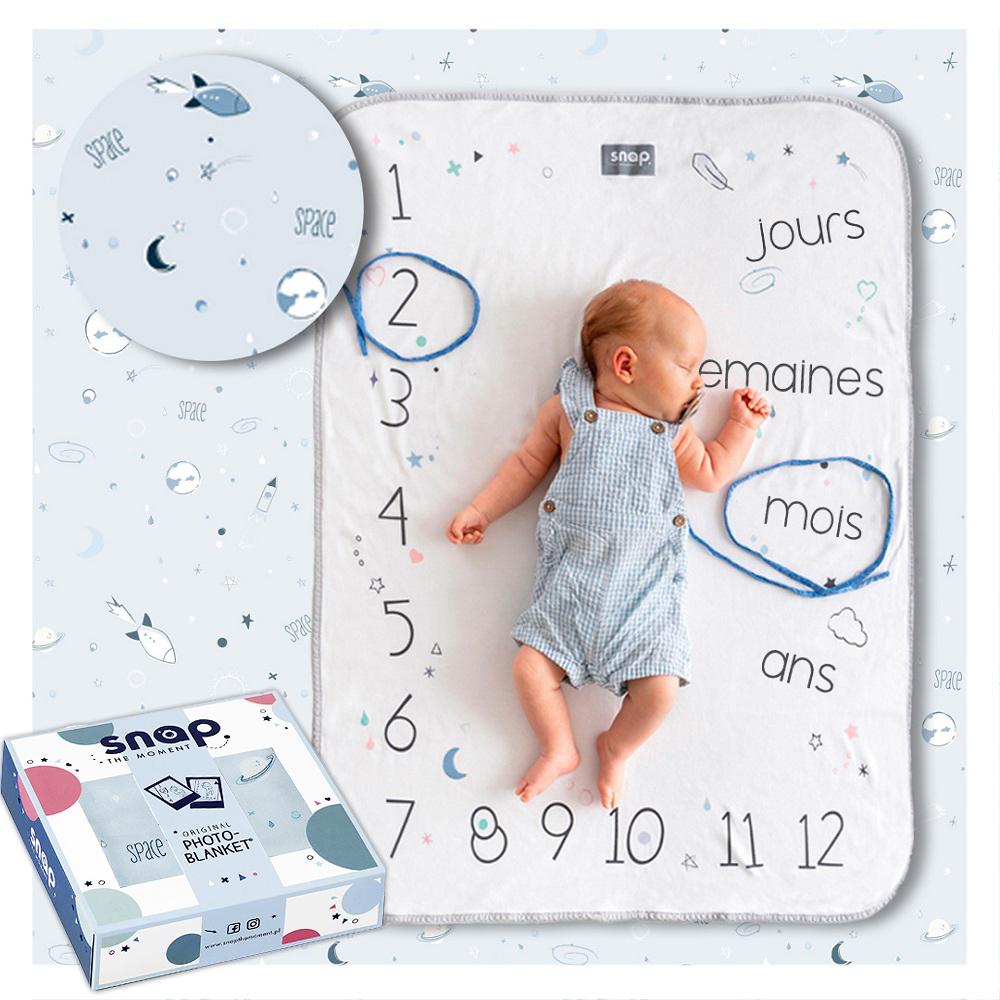SNAP THE MOMENT - Couverture étape bébé 100% coton Powder blue