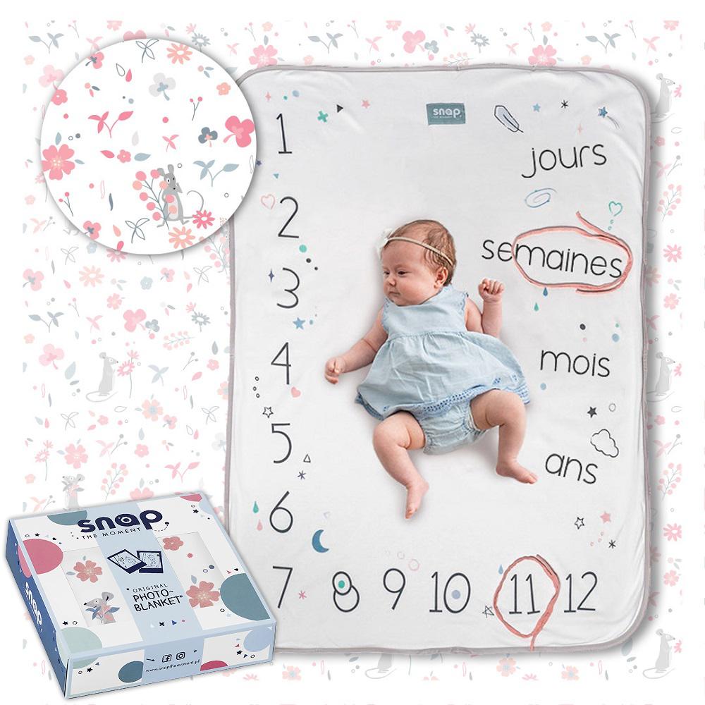 SNAP THE MOMENT - Couverture étape bébé 100% coton Rosy white