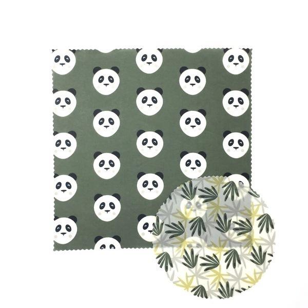 SLOW&CO - Kit duo emballage réutilisable Pandas/Feuilles