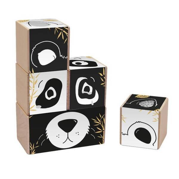 Paulette et Sacha - Les Frimousses - Cubes à empiler - Black & white