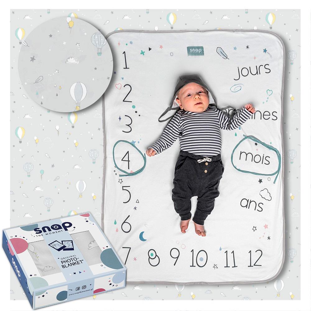 SNAP THE MOMENT - Couverture étape bébé 100% coton Pastel grey