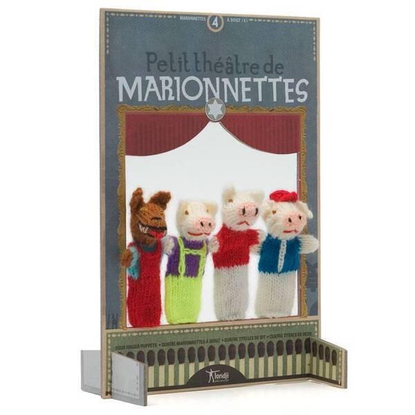 Londji - Théâtre et marionnettes laine - 3 petits cochons