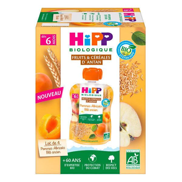 HiPP - Gourdes pommes abricots blé ancien dès 6 mois - 4 x 90g