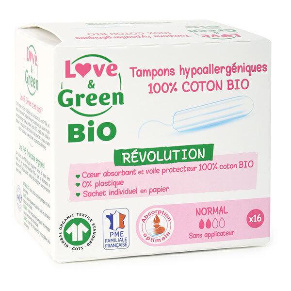 Love & Green - 16 Tampons en coton bio sans applicateur, Normal