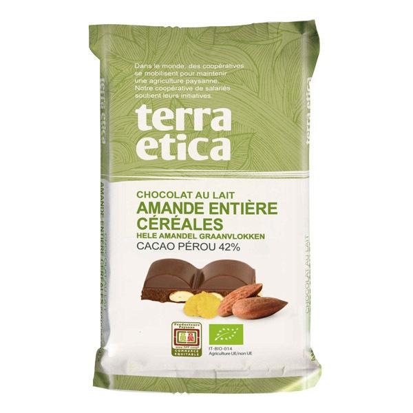 Terra Etica - Chocolat au lait, amandes entières et céréales 100g