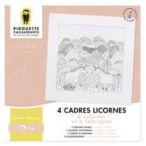 Pirouette cacahouete - 4 cadres Licornes à colorier et fabriquer