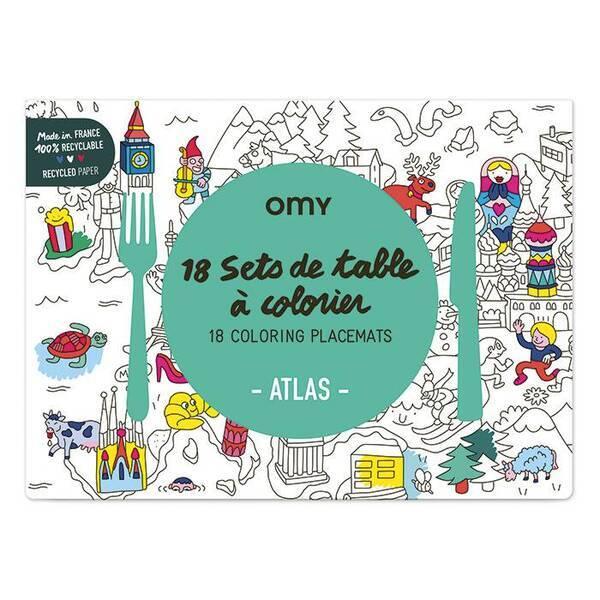OMY - Set de table à colorier - Atlas - Omy