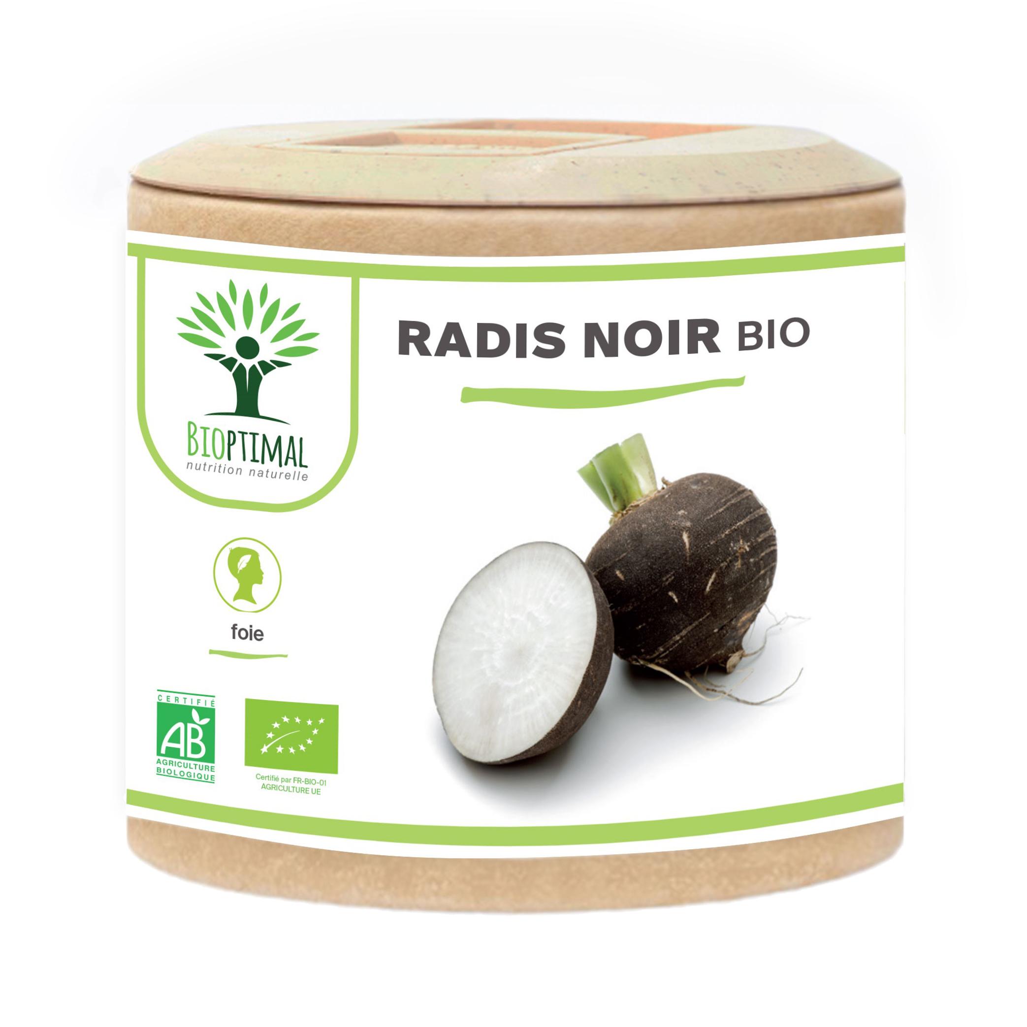 Bioptimal - Radis Noir Bio - Dépuratif Détox Foie Digestion - 60 gélules