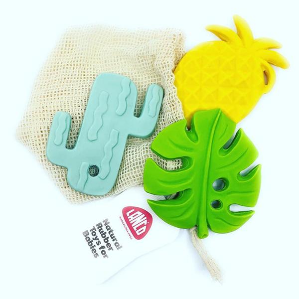 Lanco Toys - Set Semilla de 3 anneaux de dentition en caoutchouc naturel