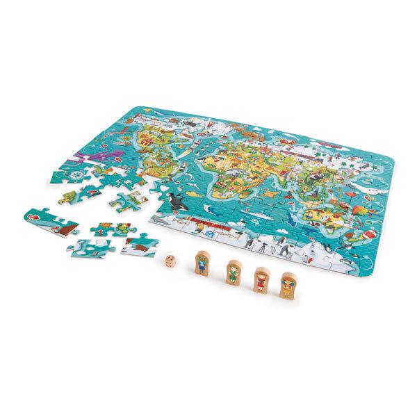 Hape - Puzzle 2 en 1 tour du monde - Dès 5 ans