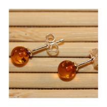 BalticWay - Cognac Amber Stud Earrings 0.6cm