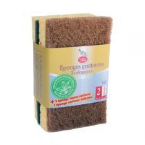 La Droguerie écologique - Eco Sponge scourers, x2 green & brown