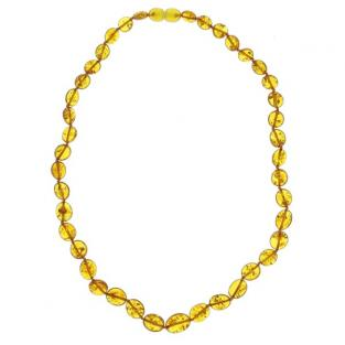 BalticWay - Adult Cognac Amber Flattened Bead Necklace