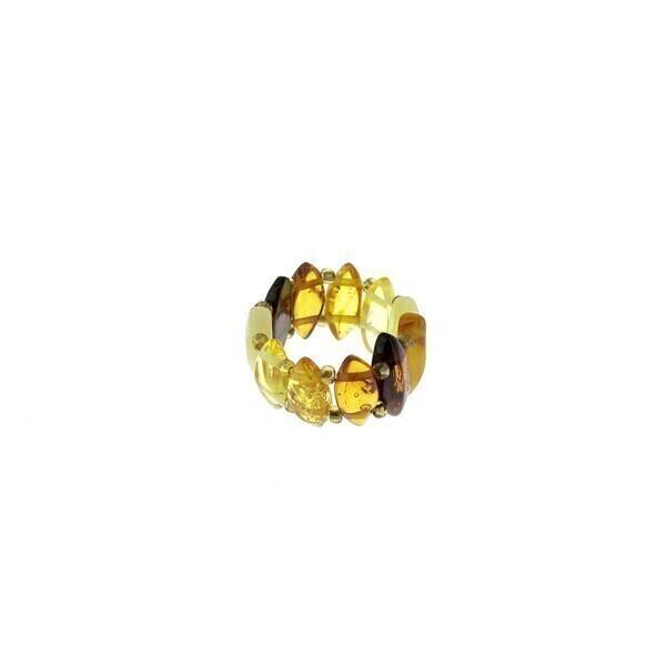 BalticWay - Anillo de Ámbar Mixto en forma Plaquetas Romboideas