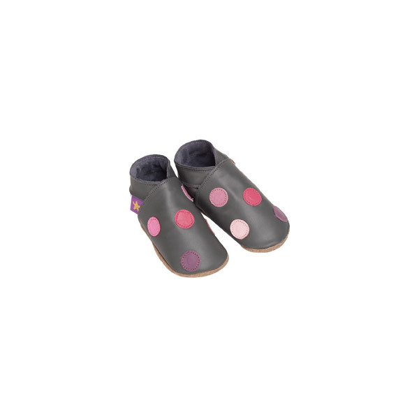 Starchild - Chaussons en cuir Polka dot gris/rose