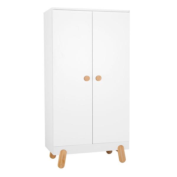 Pinio - Armoire 2 portes Iga - Blanc et bois