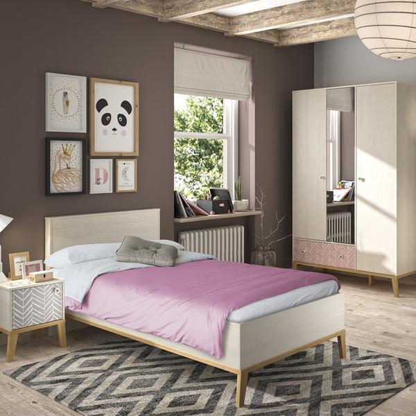 Gami - Lit 90x190 et armoire 3 portes Alika - Châtaignier blanchi
