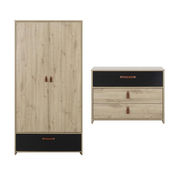 Gami - Commode 3 tiroirs et armoire 2 portes Arthus - Chêne et noir