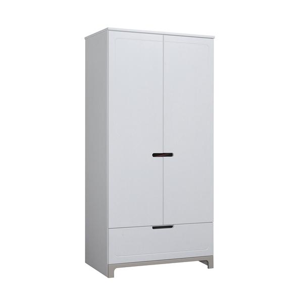 Pinio - Armoire 2 portes Mini - Blanc et gris