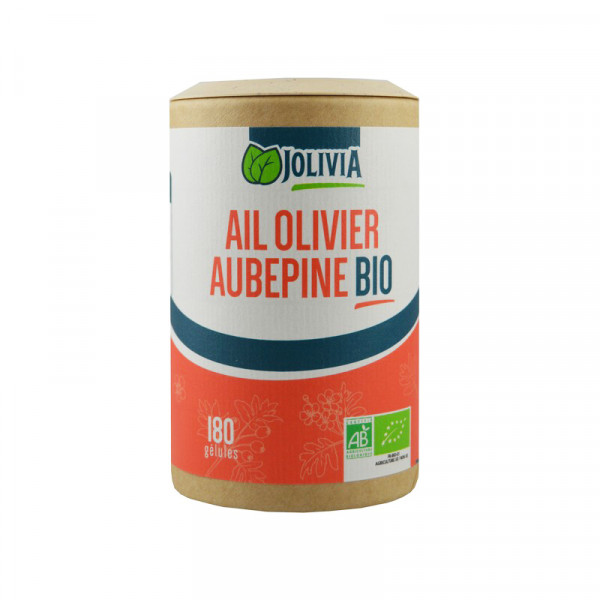 Jolivia - Ail-Olivier-Aubépine Bio - 180 gélules de 250 mg