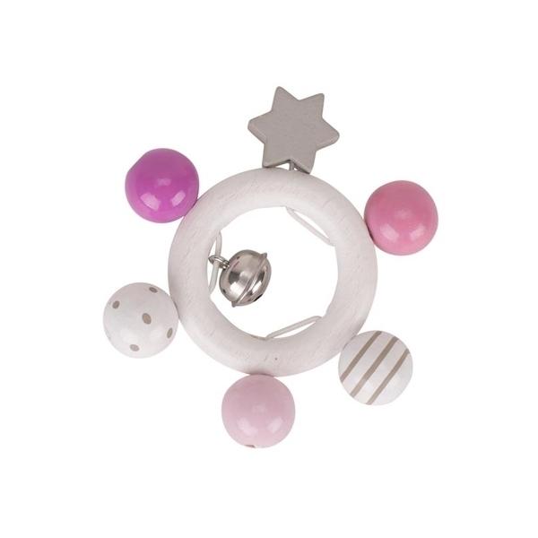 Goki - Hochet étoile rose blanc gris