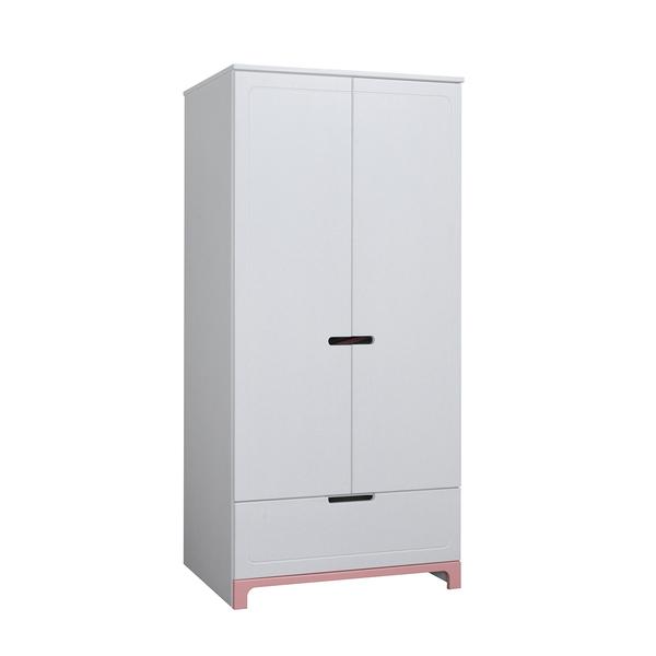 Pinio - Armoire 2 portes Mini - Blanc et rose