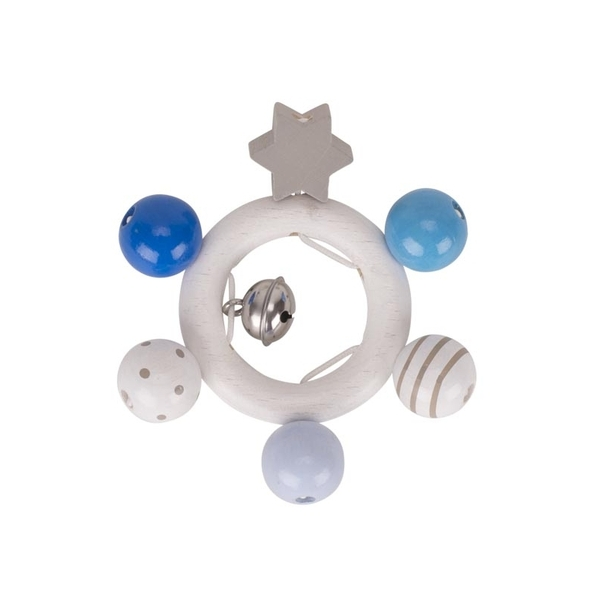 Goki - Hochet étoile bleu blanc gris