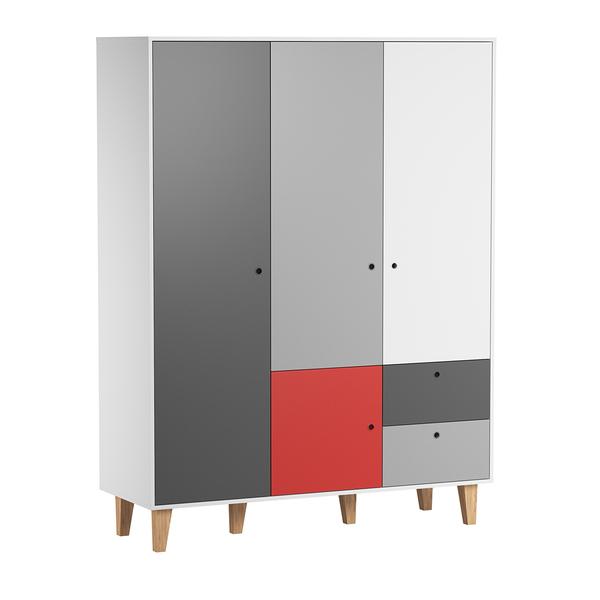 Vox - Armoire 3 portes Concept - Rouge