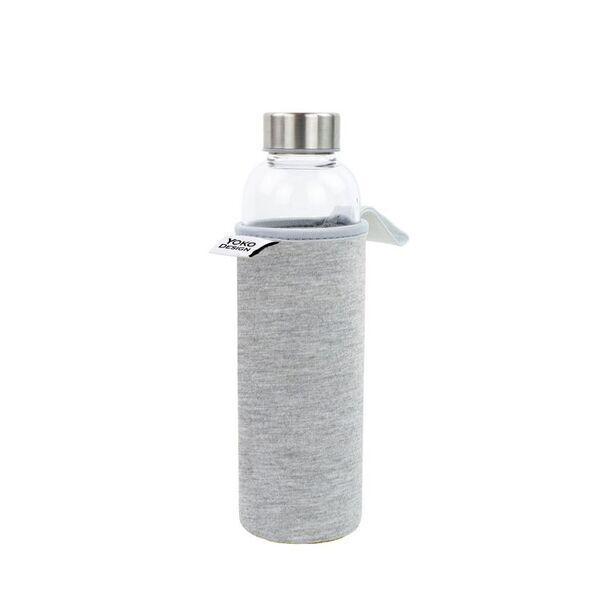 Yoko Design - Bouteille en verre 500 ml avec pochette néoprène grise