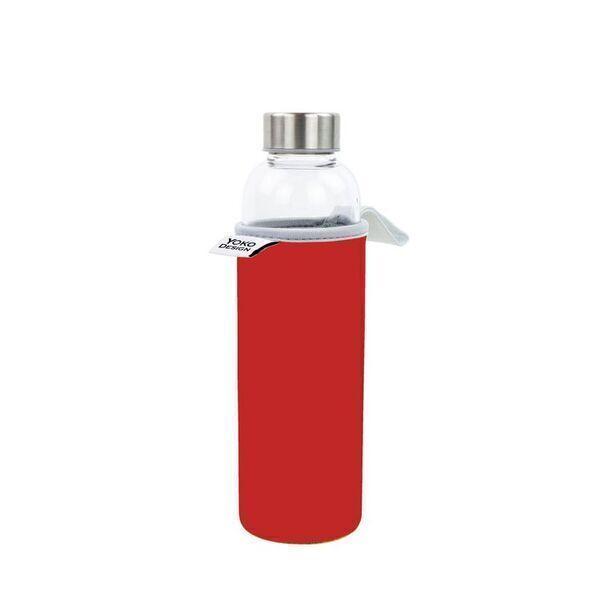 Yoko Design - Bouteille en verre 500 ml avec pochette néoprène rouge