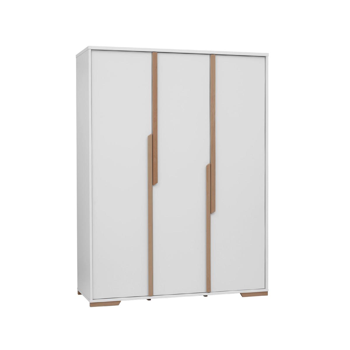 Pinio - Armoire 3 portes Snap - Blanc et bois