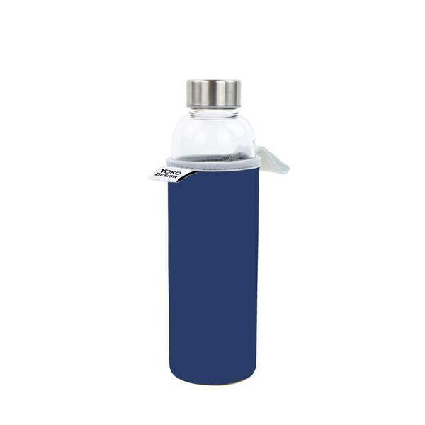 Yoko Design - Bouteille en verre 500 ml avec pochette neoprene bleue & Coffret