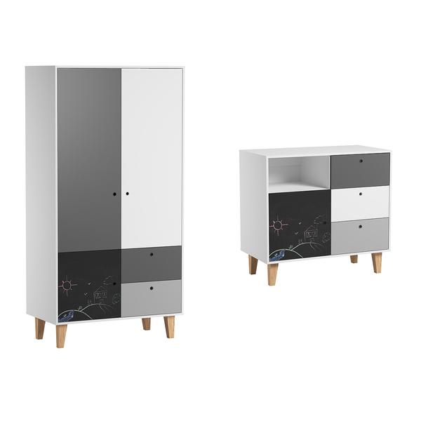 Vox - Commode à langer et Armoire 2 portes Concept - Noir