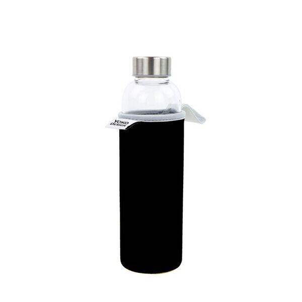 Yoko Design - Bouteille en verre 500 ml avec pochette néoprène noire
