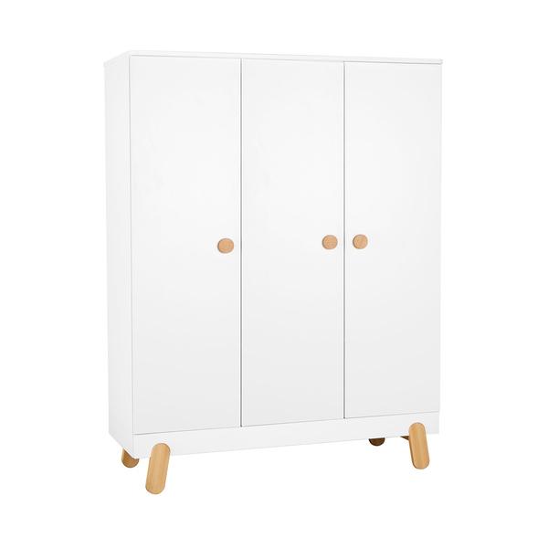 Pinio - Armoire 3 portes Iga - Blanc et bois