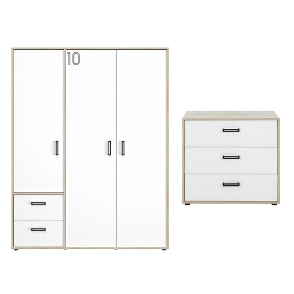 Gami - Commode 3 tiroirs et armoire 3 portes Kyllian - Chêne et blanc