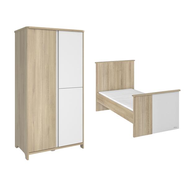 Galipette - Lit évolutif 70x140 et armoire 3 portes Sacha - Chêne et blanc