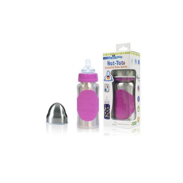 Babireva - Biberon rose en inox de 200 ml - Pacific Baby