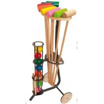 Jurabuis - Chariot de croquet métal et bois 8 joueurs