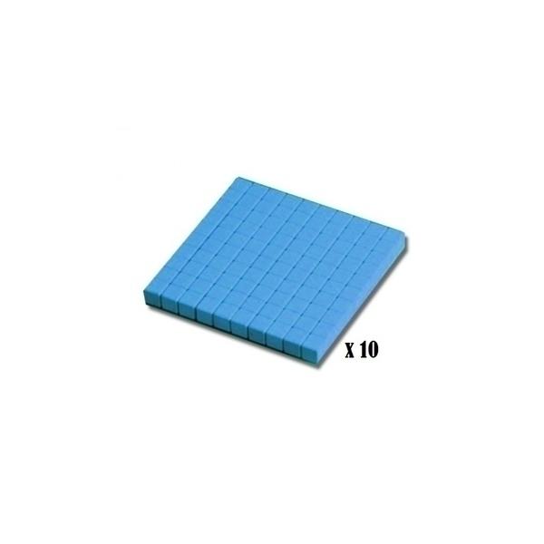 Wissner - 10 plaques de 100 - base 10 en bois - bleu