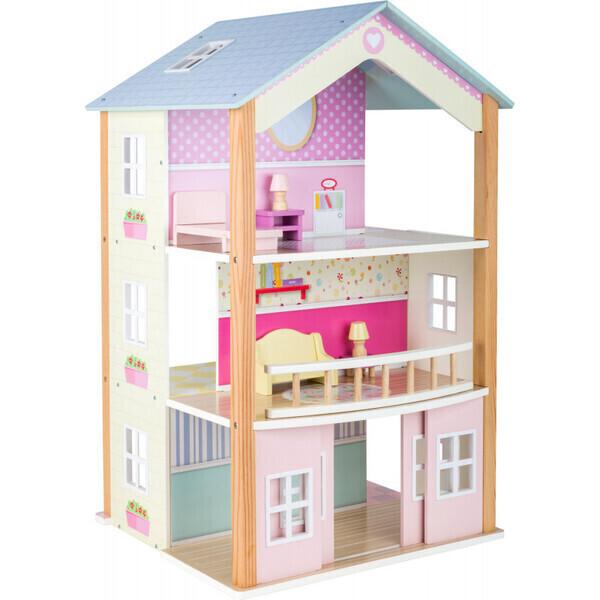 Small Foot - Maison de poupée en bois  pratique et pivotante à 3 étages