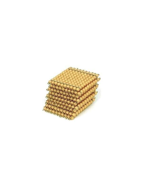 MontessoriSamuserAutrement - 9 carres de 100 perles dorees