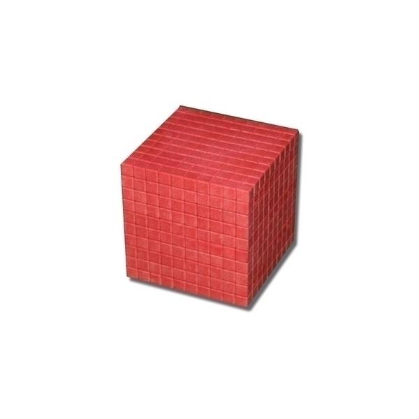 Wissner - Cube de 1000 - base 10 en bois rouge