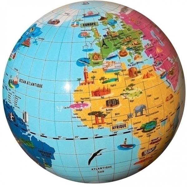 Caly - Globe gonflable 42cm Merveilles du Monde