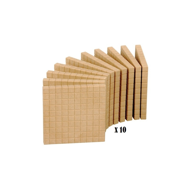 Wissner - 10 plaques de 100 - base 10 en bois naturel